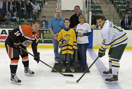 Picture of the Puck Drop at the Nen's Hockey Game 12/4/15