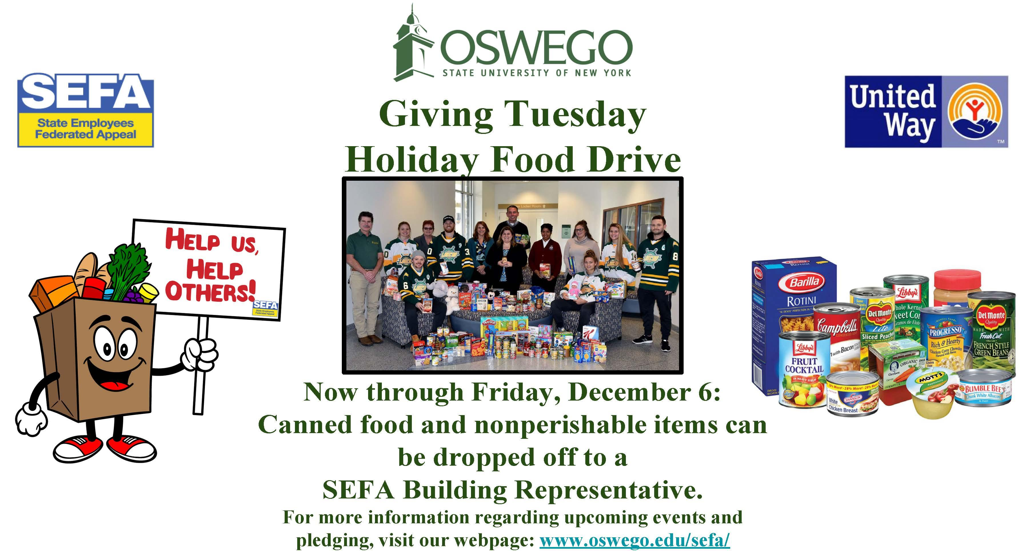 SEFA Giving Tuesday Holiday Food Drive - Now through Dec. 6th