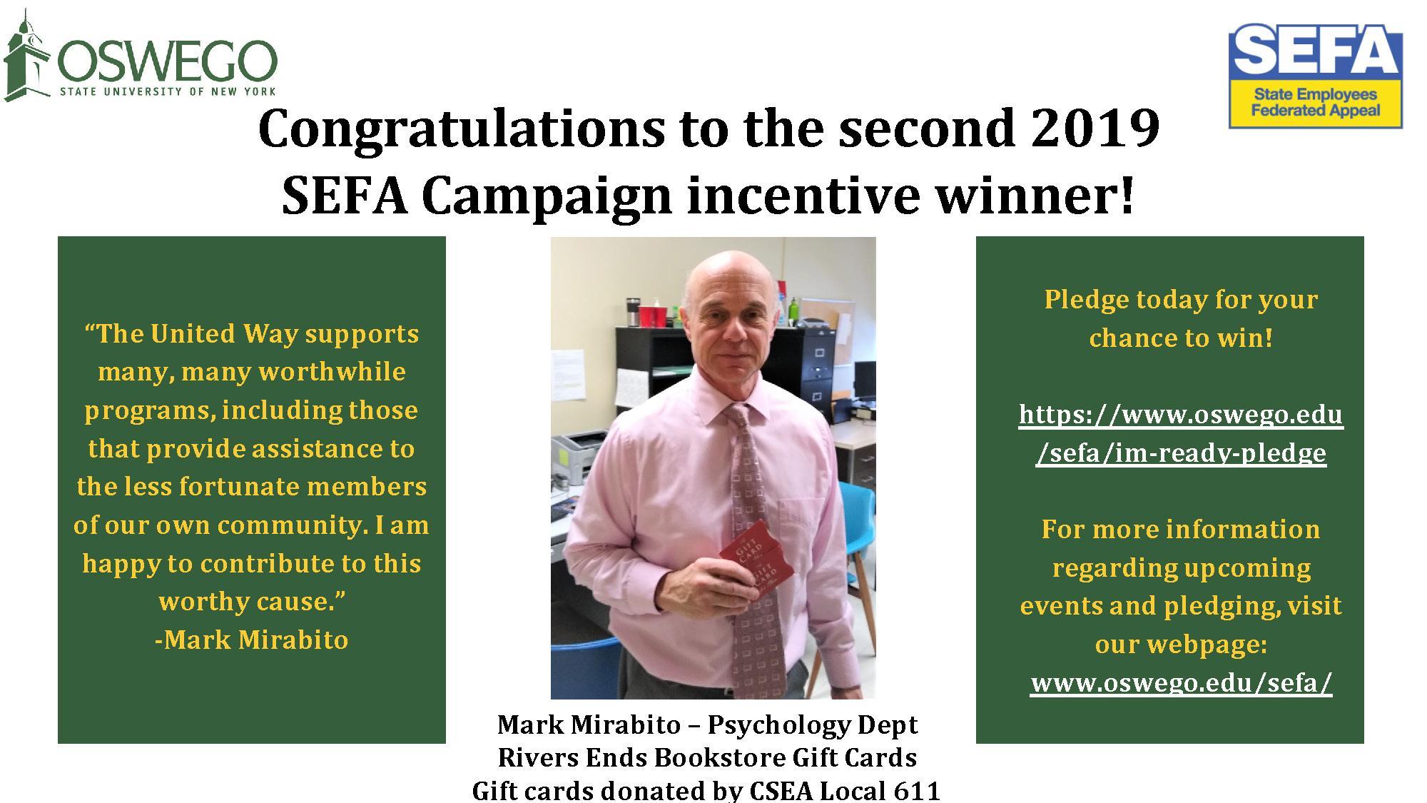 Mark Mirabito - Winner of Incentive Bi-Monthly Prize #2