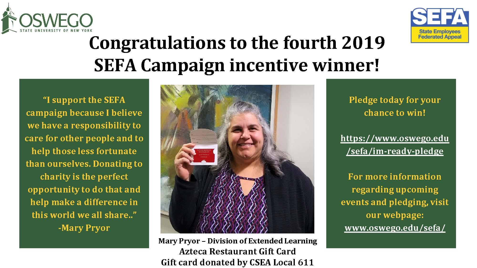 SEFA Incentive Prize Winner #4 - Mary Pryor