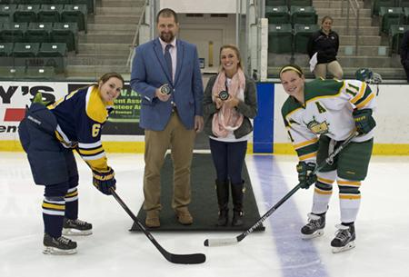 Picture of the Puck Drop at the Women's Hockey Game 12/4/15