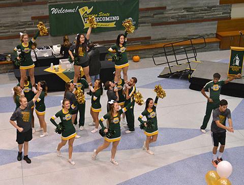 Cheerleaders at Homecoming Tailgate