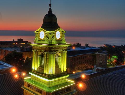 Aerial evening view of Sheldon Hall cupola