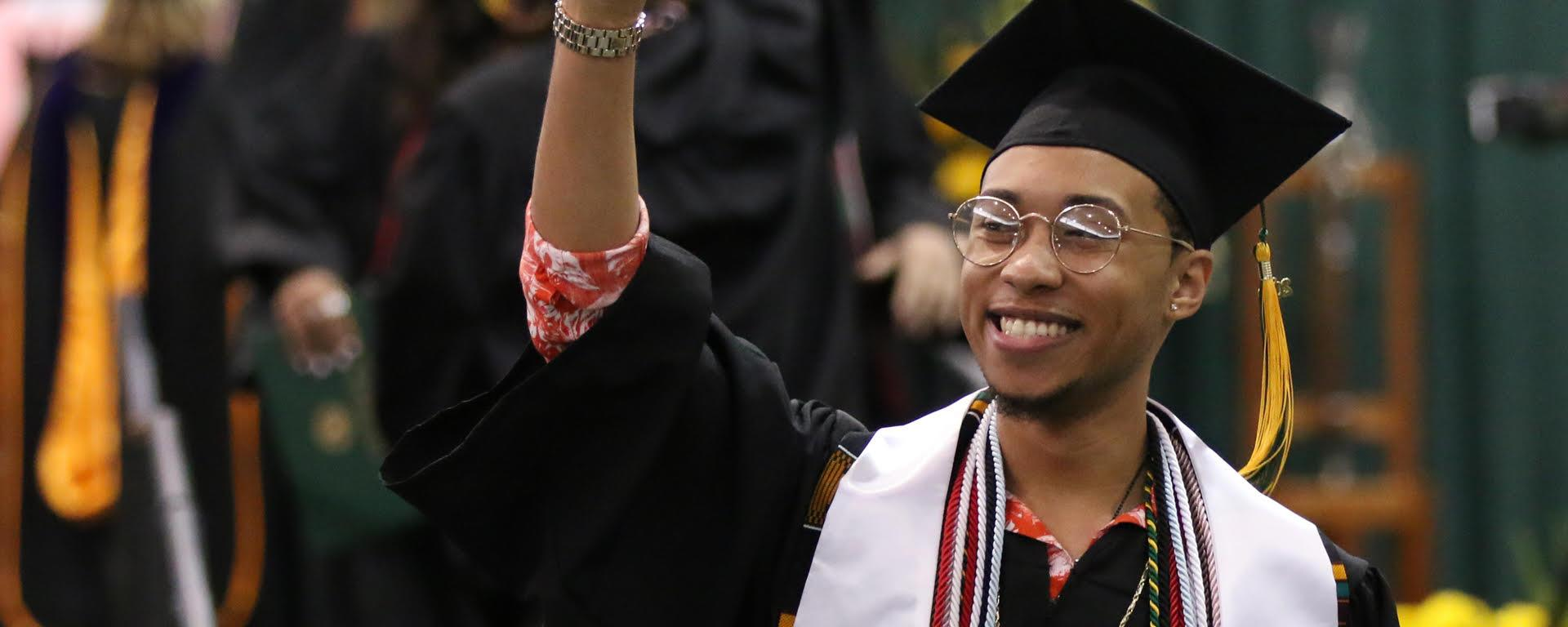 Students celebrate during Commencement