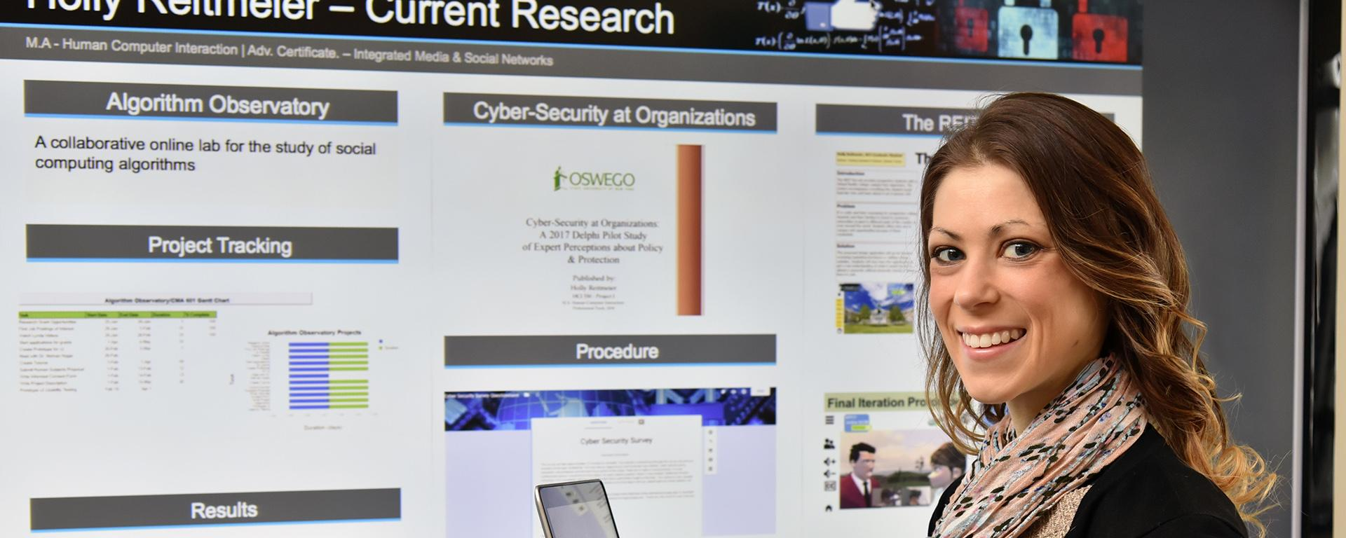 Holly Reitmeier showing cybersecurity research