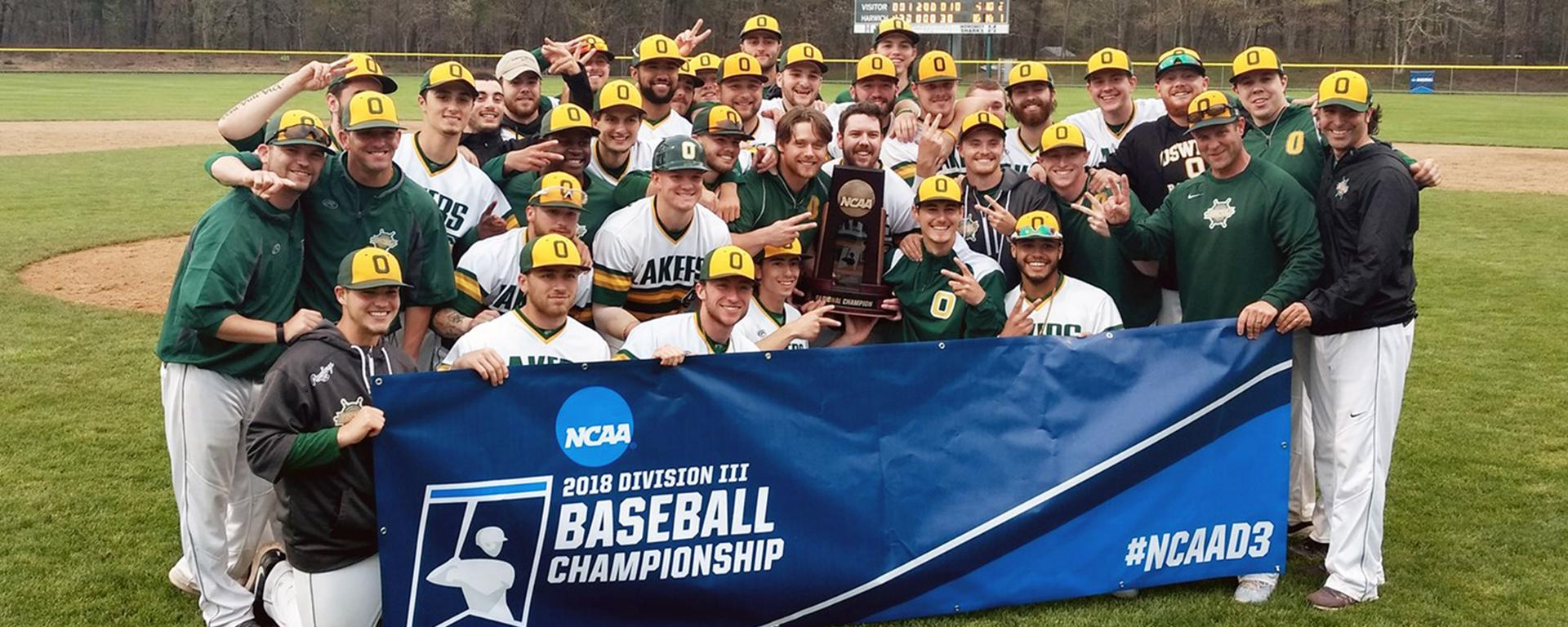 Laker baseball players celebrate winning NCAA New England Regional