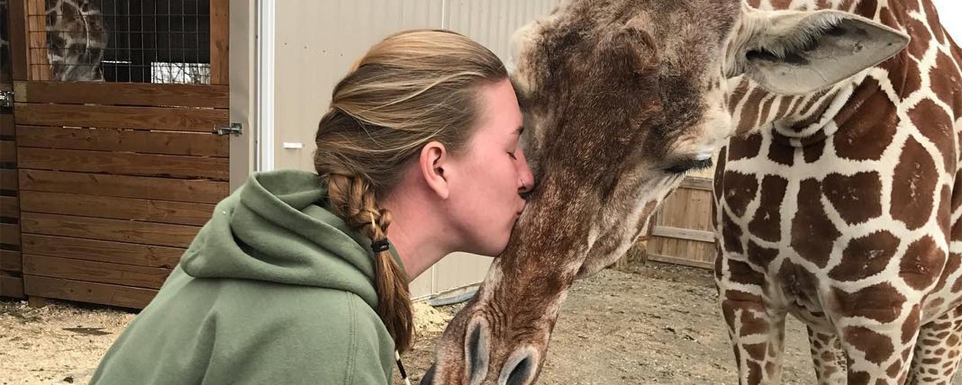 Allysa Swilley kissing giraffe