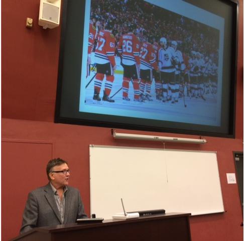 Tim Delaney presents during Sportsmanship Symposium