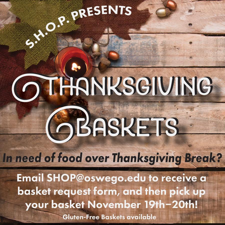 Thanksgiving basket text over wood background