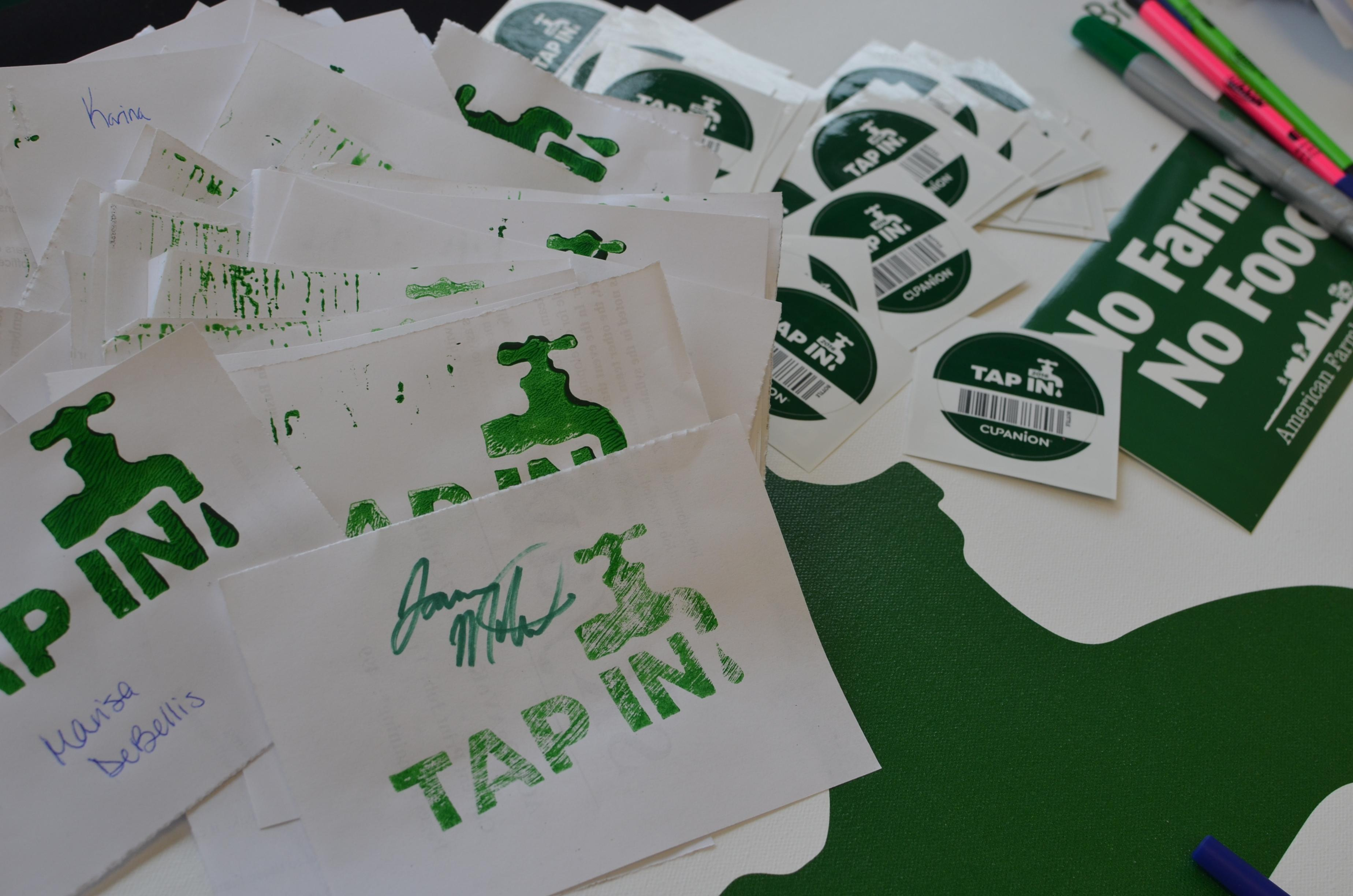 Image of pledges and sticker provided to students.