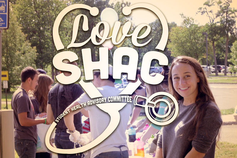 Student Health Advisory Committee logo with an image from their annual SHAC fair featuring tye dying shirts.